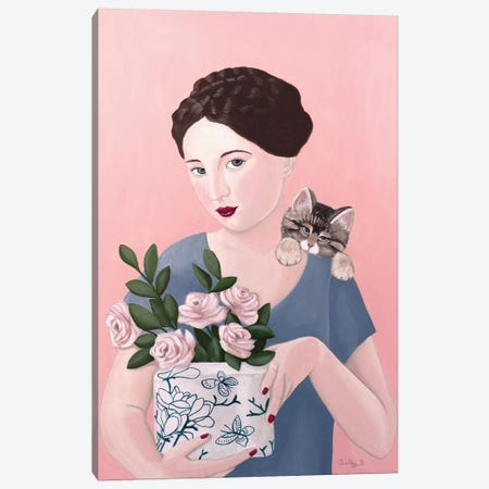 Woman With Cat And Roses Canvas Print #SLY73} by Sally B Canvas Print