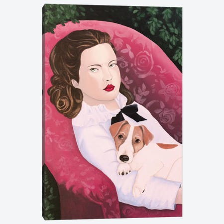 Woman With Jack Russell On Red Armchair Canvas Print #SLY74} by Sally B Canvas Artwork