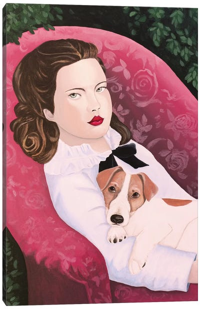 Woman With Jack Russell On Red Armchair Canvas Art Print