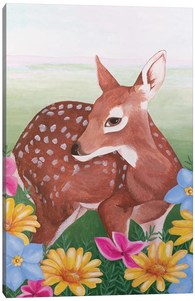 Deer In Flower Field Canvas Art Print