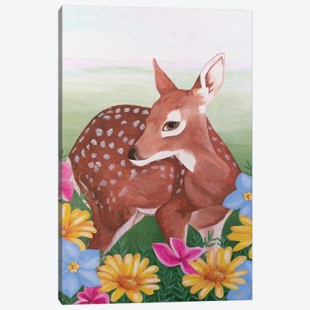 Deer In Flower Field Canvas Print #SLY75} by Sally B Canvas Wall Art