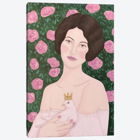 Woman With King Dove Canvas Print #SLY76} by Sally B Canvas Art