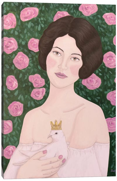 Woman With King Dove Canvas Art Print
