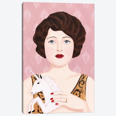 Flapper Woman With Unicorn Canvas Print #SLY78} by Sally B Canvas Art Print