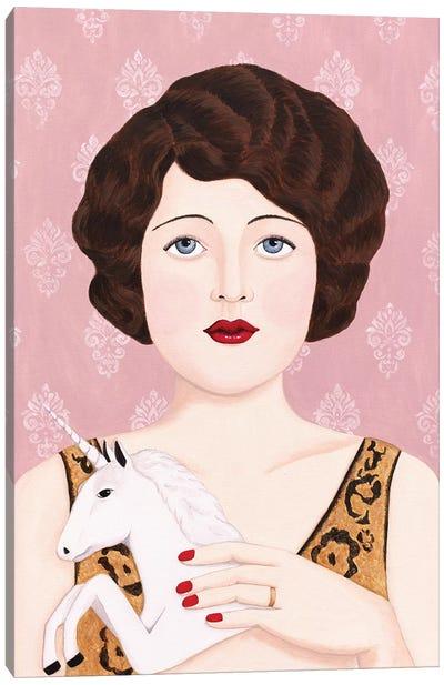 Flapper Woman With Unicorn Canvas Art Print