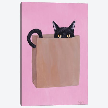 Black Cat In Paper Bag Canvas Print #SLY79} by Sally B Canvas Art Print