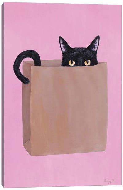 Black Cat In Paper Bag Canvas Art Print