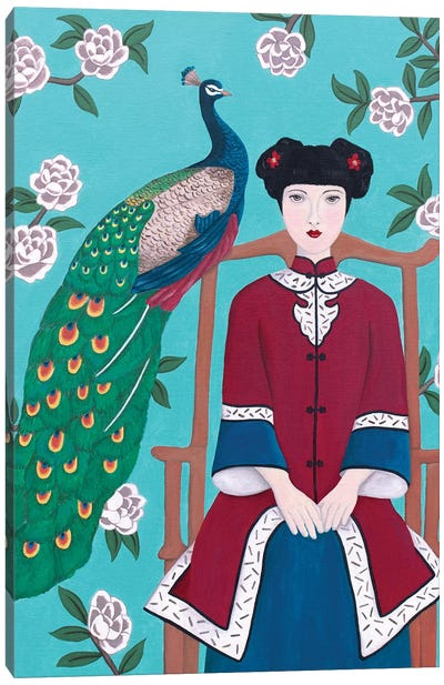 Chinese Woman And Peacock Canvas Art Print