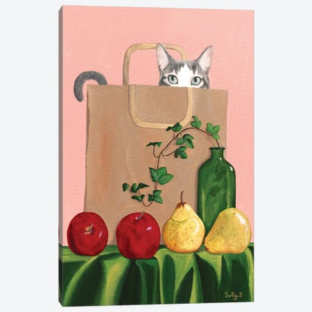 Cat In Paper Bag With Apples And Pears Canvas Print #SLY80} by Sally B Canvas Art