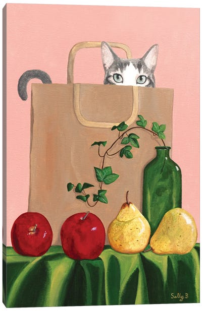Cat In Paper Bag With Apples And Pears Canvas Art Print