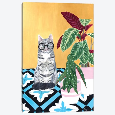 Clever Cat With House Plants Canvas Print #SLY82} by Sally B Canvas Artwork