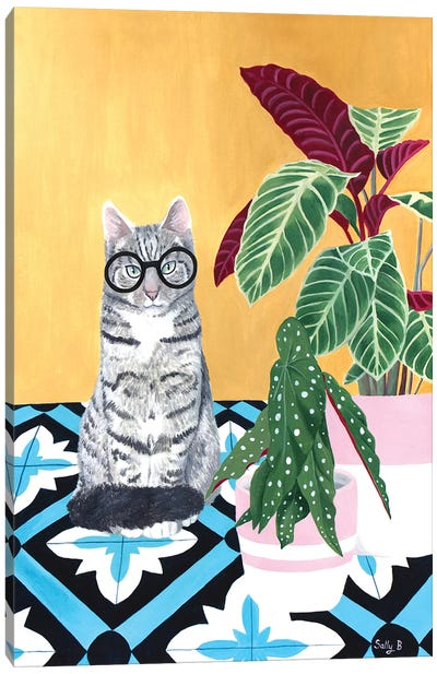 Clever Cat With House Plants Canvas Art Print