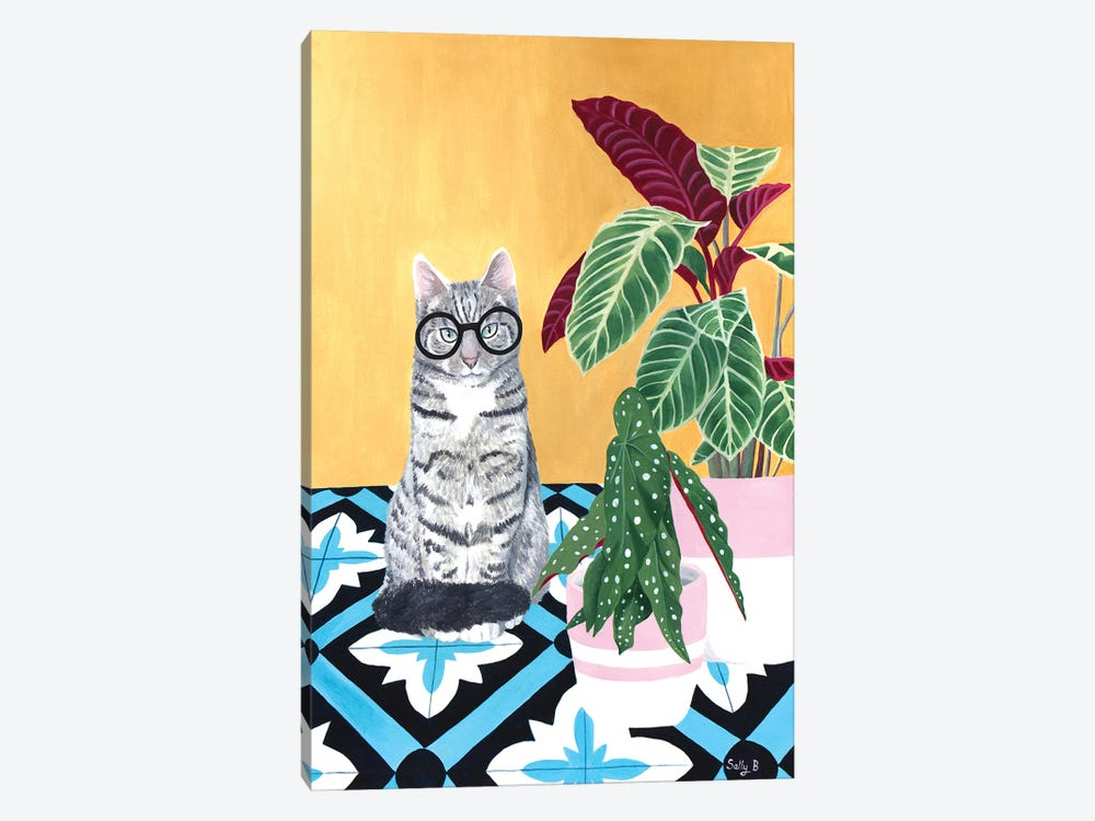 Clever Cat With House Plants by Sally B 1-piece Canvas Wall Art