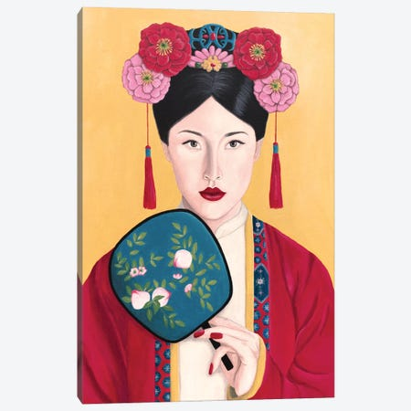 Vintage Chinese Woman With Fan Canvas Print #SLY83} by Sally B Canvas Artwork
