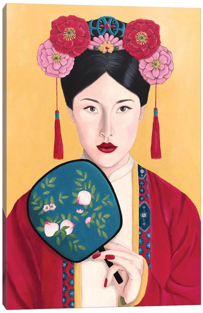 Vintage Chinese Woman With Fan Canvas Art Print