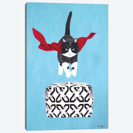 Flying Cat Over Pouf Canvas Print #SLY84} by Sally B Canvas Art Print