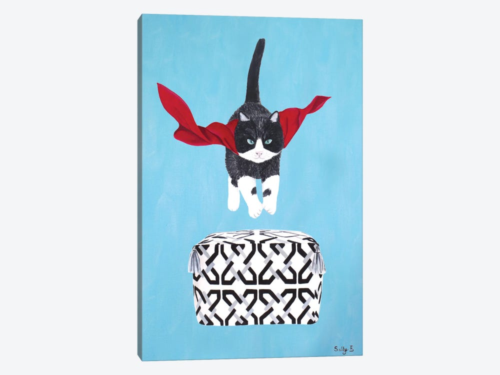 Flying Cat Over Pouf by Sally B 1-piece Canvas Wall Art