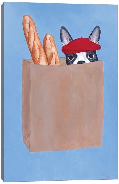 French Bulldog In Paper Bag Canvas Art Print