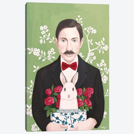 Man With Rabbit And Roses Canvas Print #SLY88} by Sally B Canvas Wall Art