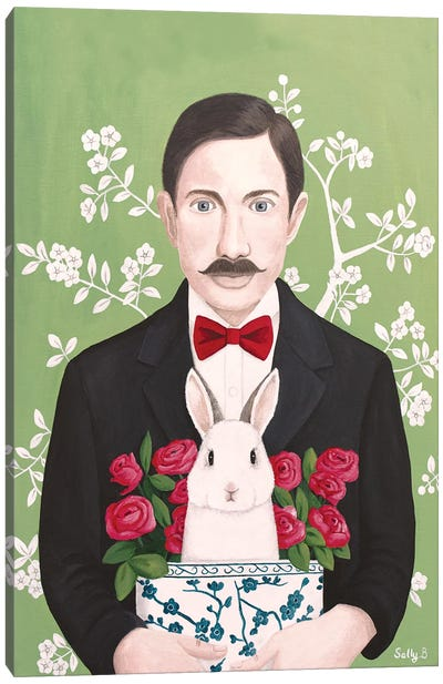 Man With Rabbit And Roses Canvas Art Print