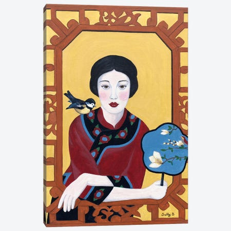Chinese Woman With Fan And Bird Canvas Print #SLY8} by Sally B Canvas Wall Art
