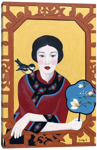 Chinese Woman With Fan And Bird Canvas Art Print