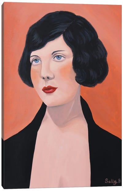 Woman In Black Jacket Canvas Art Print