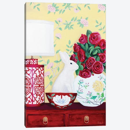 Rabbit And Roses In Red Chinoiserie Decor Canvas Print #SLY92} by Sally B Art Print