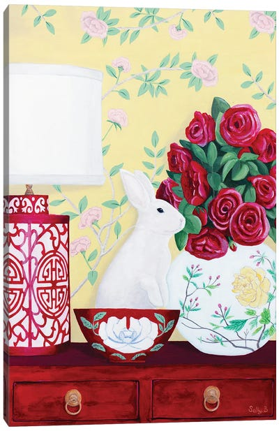 Rabbit And Roses In Red Chinoiserie Decor Canvas Art Print