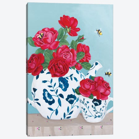 Roses And Bees In Chinoiserie Decor Canvas Print #SLY93} by Sally B Art Print