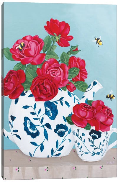 Roses And Bees In Chinoiserie Decor Canvas Art Print