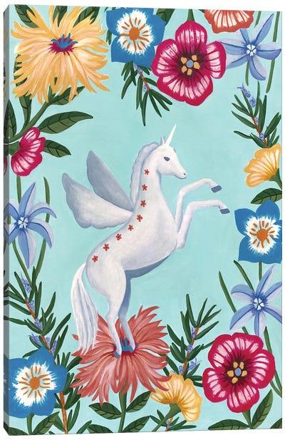 Unicorn And Flowers Canvas Art Print