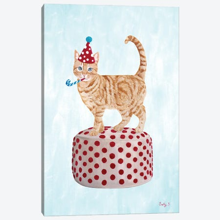 Party Cat On Pouf Canvas Print #SLY95} by Sally B Canvas Wall Art
