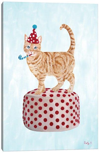 Party Cat On Pouf Canvas Art Print