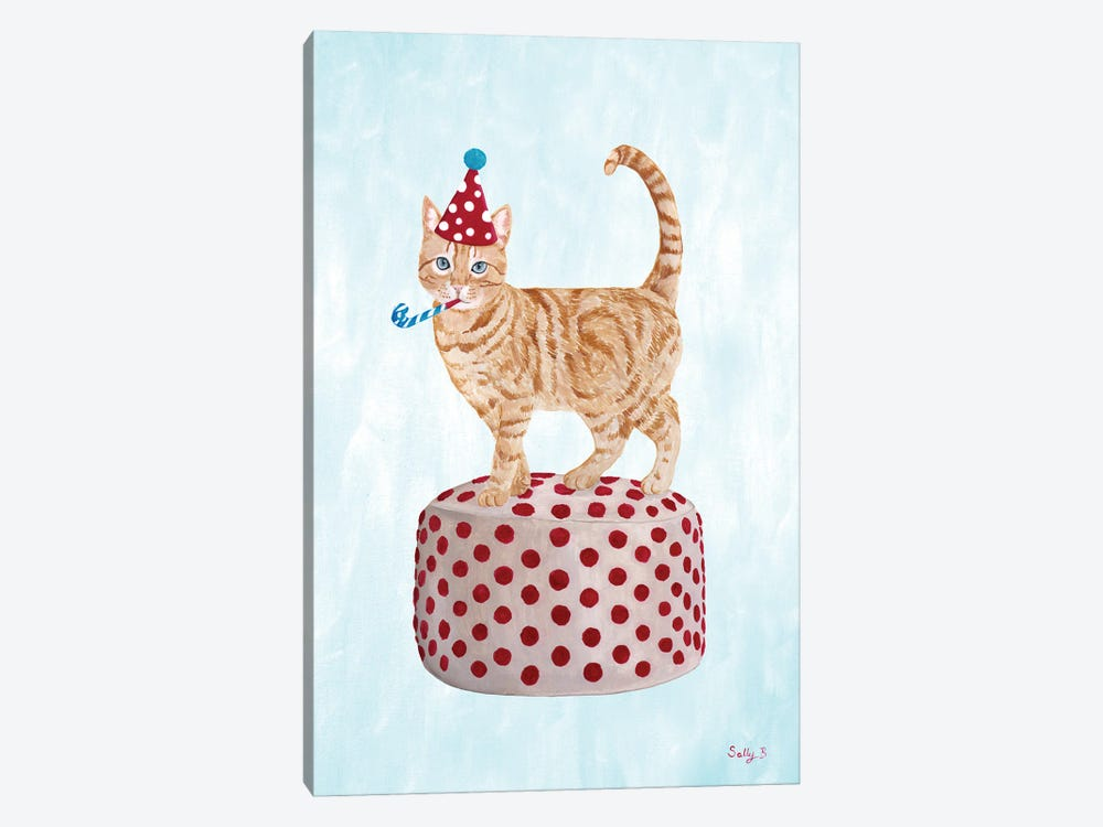 Party Cat On Pouf by Sally B 1-piece Canvas Art