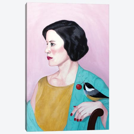 Woman With Shawl And Bird Canvas Print #SLY96} by Sally B Canvas Artwork