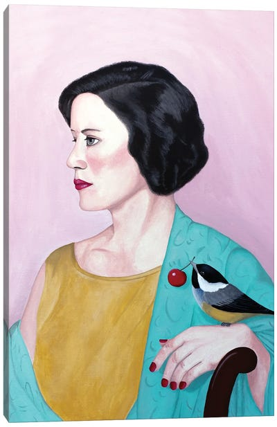 Woman With Shawl And Bird Canvas Art Print