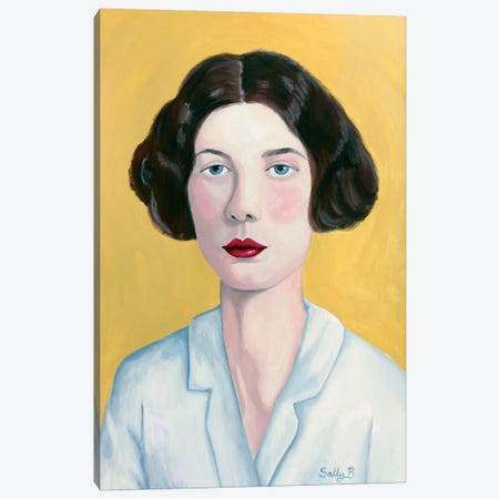 Woman Portrait With Yellow Background Canvas Print #SLY97} by Sally B Canvas Wall Art