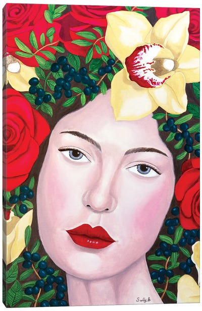 Woman With Roses And Yellow Orchids Canvas Art Print