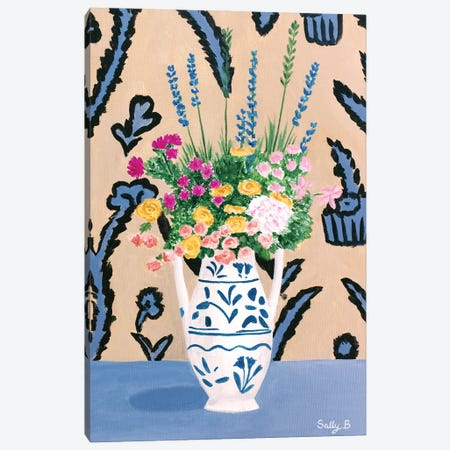 Flower Bouquet On Blue Table Canvas Print #SLY99} by Sally B Canvas Art Print