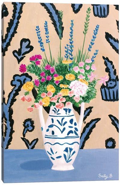 Flower Bouquet On Blue Table Canvas Art Print