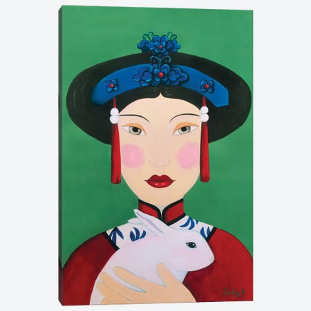 Chinese Woman With Rabbit Canvas Print #SLY9} by Sally B Canvas Wall Art