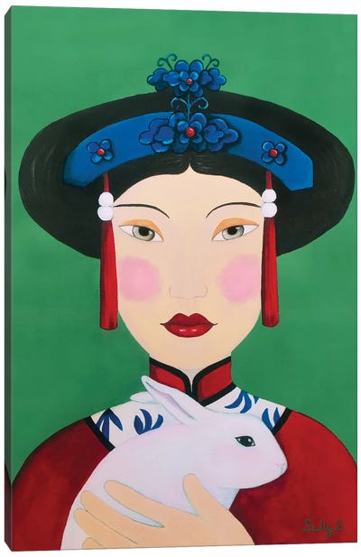 Chinese Woman With Rabbit Canvas Art Print