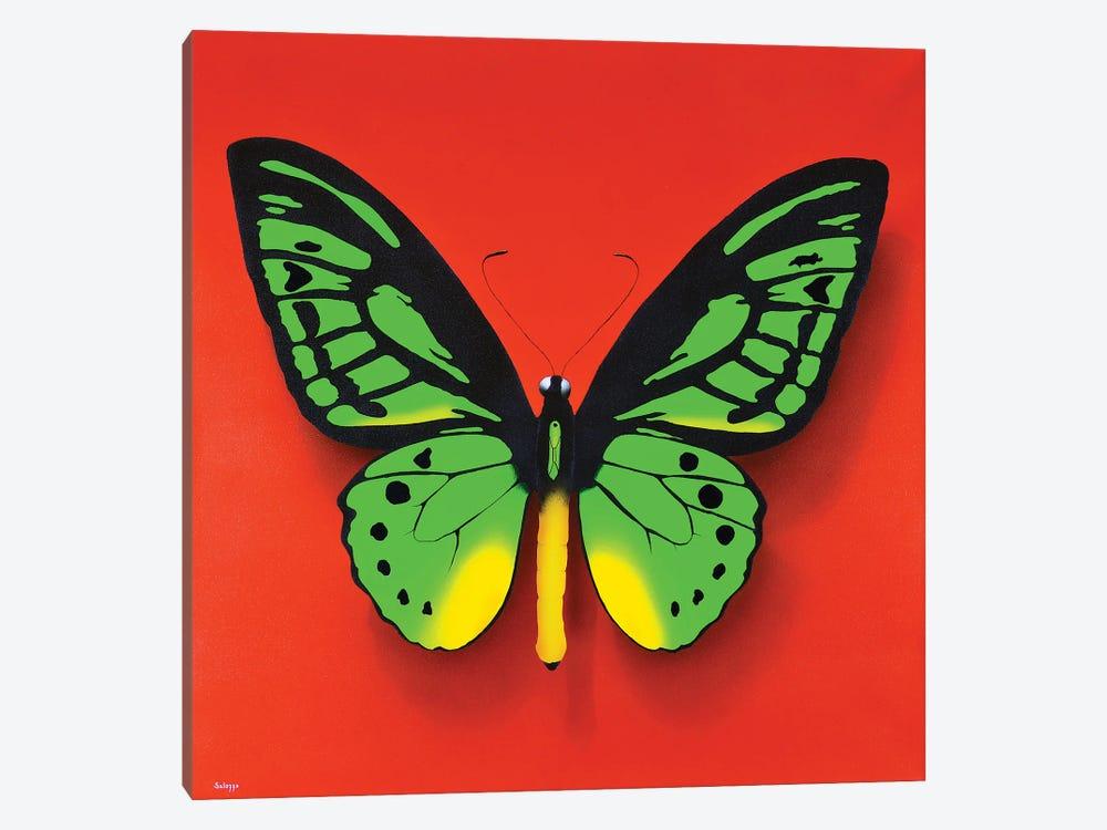Green Butterfly by John Salozzo 1-piece Canvas Wall Art