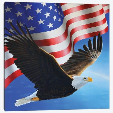 American Eagle And Flag Canvas Print #SLZ1} by John Salozzo Canvas Art Print