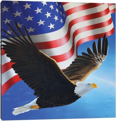 American Eagle And Flag Canvas Art Print