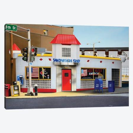 Sandwich Shop Canvas Print #SLZ33} by John Salozzo Canvas Artwork