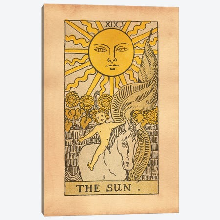 The Sun Tarot Canvas Print #SMD105} by Tea Stained Madness Canvas Wall Art