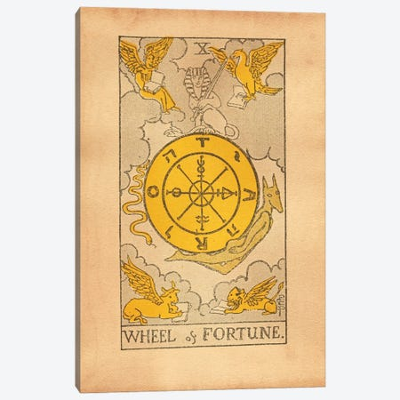 Wheel Of Fortune Tarot Canvas Print #SMD110} by Tea Stained Madness Canvas Wall Art