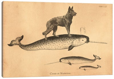 Black German Shepherd Narwhal Canvas Art Print